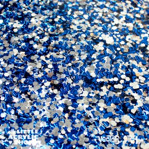Blue and Silver Chunky Glitter Acrylic