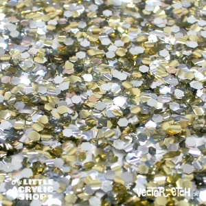 Light Gold and Silver Chunky Glitter Acrylic