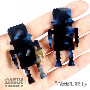 Oil Blue Glimmer Acrylic Sample Back