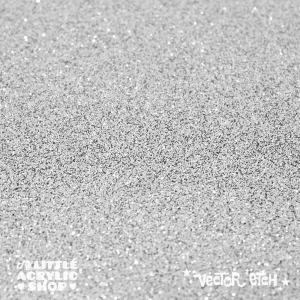 Silver White Glitter Single Sided Acrylic
