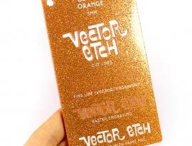 Orange Glitter Single Sided Acrylic