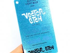 Light Blue Glitter Single Sided Acrylic
