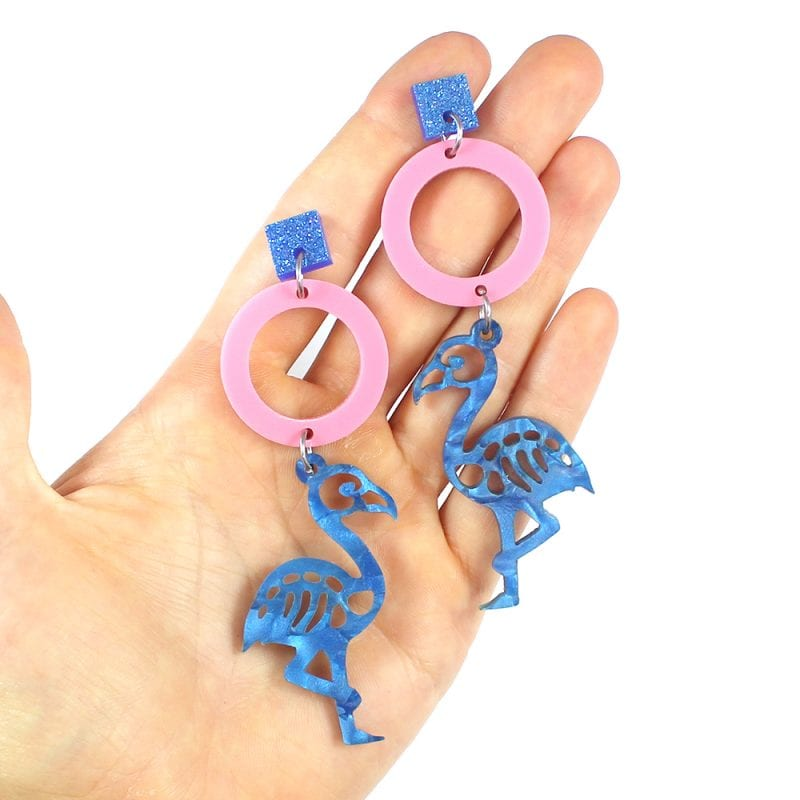 Flamingo Skies Earrings made from template shapes
