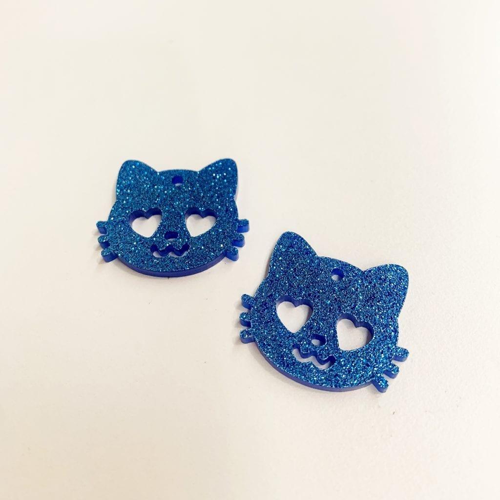 Surgical Steel Posts Pastel Grape Purple Cat Acrylic Stud Earrings Matte Finish
